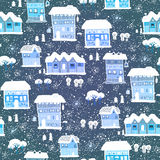 Blue Christmas pattern with houses and trees Royalty Free Stock Photography