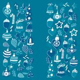 Blue christmas pattern with christmas bells, snowflakes, candy Holly jolly Merry Christmas and Happy New Year. Blue christmas patterns with christmas bells royalty free illustration