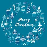 Blue christmas pattern with christmas bells, snowflakes, candy Holly jolly Merry Christmas and Happy New Year. Blue christmas patterns with christmas bells Royalty Free Stock Photo