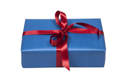 Blue christmas present on white Royalty Free Stock Image