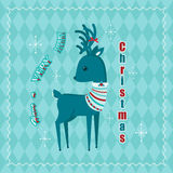 Blue Christmas retro card Royalty Free Stock Photo