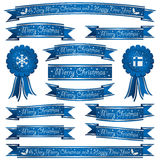 Blue christmas ribbons Royalty Free Stock Photography