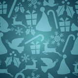 Blue Christmas seamless pattern Royalty Free Stock Photos