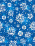 Blue Christmas seamless pattern background with snowflakes Royalty Free Stock Photos