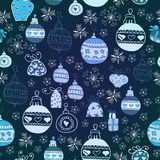 Blue Christmas Seamless Pattern. Royalty Free Stock Images