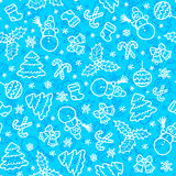 Blue christmas seamless pattern in cartoon style Royalty Free Stock Image
