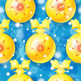 Blue Christmas seamless pattern with golden balls Stock Image