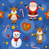 Blue Christmas Seamless Pattern. A seamless pattern with Santa Claus, a snowman, reindeer and Christmas cookies, on blue background. Useful also as design Stock Photos