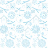 Blue christmas seamless pattern with snowflakes on white Royalty Free Stock Photography