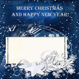 Blue Christmas snow background with stamp-frames Royalty Free Stock Images