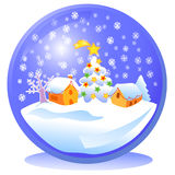 Blue Christmas snowball. Snowball with a small town and a Christmas tree inside. Vector illustration Royalty Free Stock Image