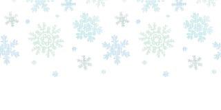 Blue Christmas Snowflakes Textile Texture. Vector Blue Christmas Snowflakes Textile Texture Horizontal Seamless Pattern Background with drawn snowflakes on light Stock Photo