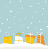 Blue christmas snowing. Christmas background with gifts. Vector Stock Images