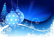 Blue Christmas and snowy floral Royalty Free Stock Image