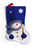 Blue christmas sock. With snowman on a white background stock photos