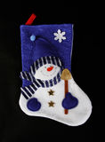 Blue christmas sock. With snowman on a black background royalty free stock images
