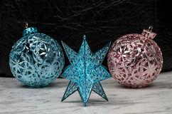 Blue Christmas star ornament Stock Photos