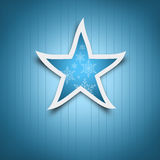 Blue Christmas star with snow flakes decoration Stock Photo