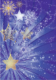 Blue christmas stars. Blue christmas background with stars and snowflakes stock illustration