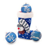 Blue Christmas stocking and three balls. Blue Christmas stocking and three Christmas balls royalty free stock images