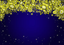 Blue Christmas top frame background with gold snowflakes and stars. Vector illustration. Royalty Free Stock Photography