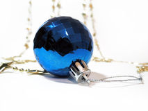 Blue Christmas toy close up on white background Royalty Free Stock Images