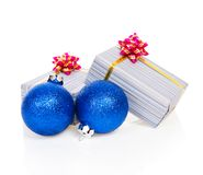 Blue christmas toy and festive gifts Royalty Free Stock Photography
