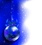 Blue Christmas toy. Blue toy on the Christmas tree. Blue New Year background. New Year - Christmas composition Stock Illustration
