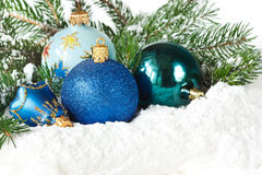 Blue christmas toys. Royalty Free Stock Images