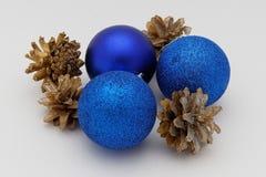 Blue Christmas toys Stock Photos