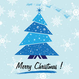Blue Christmas tree. Abstract colorful background with small blue Christmas tree, white snowflakes and the text Merry Christmas written under the tree. Christmas Stock Image