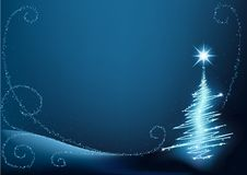 Blue Christmas Tree. High detailed vector illustration - christmas background stock illustration