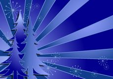 Blue Christmas Tree Background. A clip art background illustration all in blue  colors featuring Christmas trees, snowflakes and stripes fanning outward Royalty Free Stock Photography