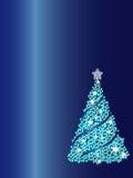 Blue Christmas tree background. Illustration of decorative Christmas tree on blue background Stock Photography