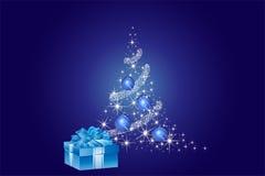 Blue Christmas Tree Background Stock Images