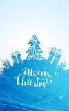 Blue Christmas tree background. Stock Photos