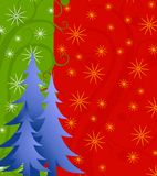 Blue Christmas Tree Background With Stars. A background illustration featuring a group of blue gradient Christmas trees set against a decorative green and red Stock Images