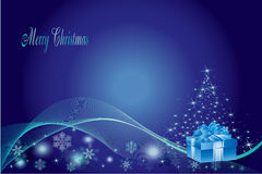 Blue Christmas Tree Background. Blue Christmas Tree and Wave Line Background Stock Photos