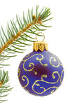 Blue  Christmas tree ball Stock Photos