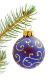 Blue  Christmas tree ball. Isolated on white background Stock Photos