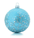 Blue Christmas tree ball isolated on the white background.  Stock Image