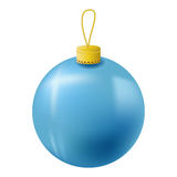 Blue Christmas tree ball realistic  illustration. Christmas fir tree ornament  on white. Royalty Free Stock Photos