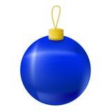 Blue Christmas tree ball realistic  illustration. Christmas fir tree ornament  on white. Royalty Free Stock Photo