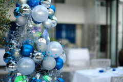 Blue Christmas tree. Balls decoration Royalty Free Stock Photos