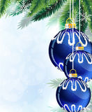 Blue Christmas tree balls and pine branches. Pine branches with blue Christmas ornaments on a sparkling background Stock Photography