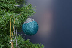 Blue christmas tree baubles Stock Photography