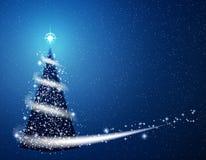 Blue Christmas tree blizzard snowflakes stars background.  Stock Photo