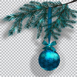 Blue Christmas tree branches on a checker background with shadow.  Royalty Free Stock Images
