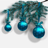 Blue Christmas tree branches on an isolated white background with shadow.. Three blue ball with snowflakes and ribbon. Vector illustration Royalty Free Stock Photo