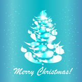 Blue christmas tree card Stock Images